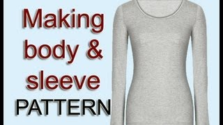 getlinkyoutube.com-Copy body & sleeve pattern from your old top / Pattern drafting sleeve