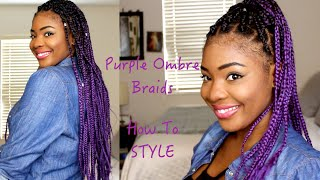 BOX BRAIDS  - Purple Ombre Braids - 2016