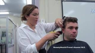 getlinkyoutube.com-Men's Fohawk Haircut for beginners and home hair business: great class!