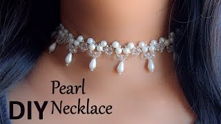 Beautiful pearl choker necklace | DIY easy pearl choker necklace | choker necklace making