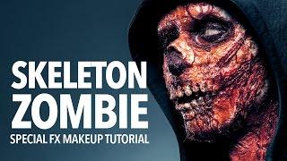 getlinkyoutube.com-Skeleton zombie special fx makeup tutorial