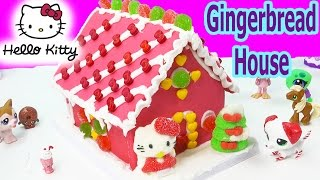 getlinkyoutube.com-Hello Kitty Holiday Candy Pink Gingerbread Cookie House Making Kit Set Frosting Gummy Christmas Food