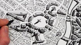 getlinkyoutube.com-How to Draw a 3D City Map: A Bird's Eye View