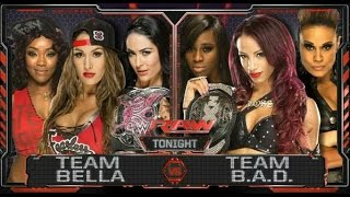 getlinkyoutube.com-WWE; Team Bella VS Team Bad.  Raw 11-08-2015 ENG