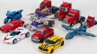 getlinkyoutube.com-Transformers Prime Optimus Prime Bumblebee Megatron Arcee Ironhide Truck 11 Vehicle Robot Car Toys