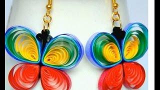 getlinkyoutube.com-PAPER EARRINGS - Stylish Butterfy Earrings Using Paper Making Tutorial.