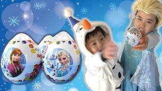 getlinkyoutube.com-FROZEN surprise eggs Elsa エルサ & アナ サプライズエッグ アナと雪の女王 チョコエッグ こうくんねみちゃん Anna