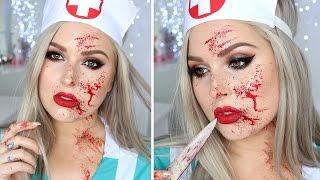 getlinkyoutube.com-Blood Splatter Tutorial ♡ Sexy Nurse Halloween Makeup Tutorial Costume