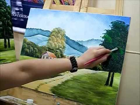 Como pintar estrada, cerca e árvore - How to paint tree - how to paint landscape