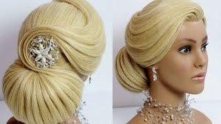 getlinkyoutube.com-Elegant Bun Hairstyle for long hair.  Wedding prom updo.