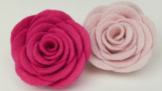 getlinkyoutube.com-How to make Felt roses I Easy felt flower