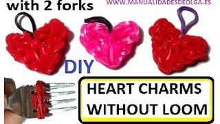getlinkyoutube.com-Heart Charm With two forks without Rainbow Loom Tutorial. (Mini Figurine)