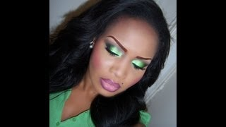 getlinkyoutube.com-Lime Green Smokey Eye Makeup tutorial