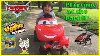 getlinkyoutube.com-Disney Cars Lightning McQueen Power Wheels Playtime at the park Surprise Egg Toys Ryan ToysReview