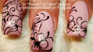 getlinkyoutube.com-Easy Pink Flower With Black Filigree Nail Art Design Tutorial | Long Nails