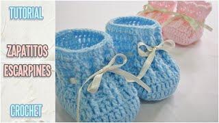 getlinkyoutube.com-Como tejer zapatitos escarpines de bebé a crochet, paso a paso