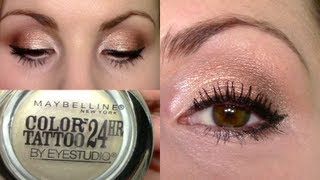 getlinkyoutube.com-Eyeshadow Tutorial | Rose Gold & Pearl Eyes + Pink Lips | Precious Pearl LE Maybelline Color Tattoo
