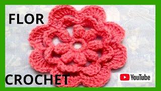 getlinkyoutube.com-Flor N° 15 en tejido crochet tutorial paso a paso.