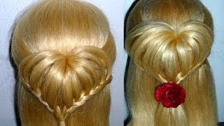 getlinkyoutube.com-Easy and Quick Heart Braid Hairstyle. Back To School Hairstyles. Penteados