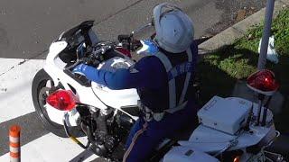 違反した大型トレーラーを緊急走行で追跡し捕まえる白バイ!交通機動隊による交差点取り締まりの瞬間!Japanese Motorcycle police