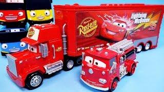 getlinkyoutube.com-Cars Disney Cars Mack Truck & Lightning McQueen, Red Deluxe & Tayo the little bus toy