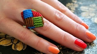 getlinkyoutube.com-A Multicolored Macrame Square Ring