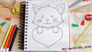 getlinkyoutube.com-How to draw Cute Kittens with Love Hearts - Easy step-by-step drawing lessons for kids