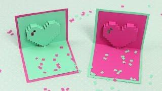 Pixel Herz Pop Up Karte zum Muttertag   DIY Muttertagskarte