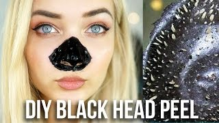 getlinkyoutube.com-DIY BLACK HEAD NOSE PEEL! BEAUTY HACK TESTED!
