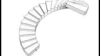 ٨- SketchUp سكتش اب : تصميم الدرج بقلبتين والدرج الدائري