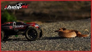 getlinkyoutube.com-Traxxas E-Revo Rattlesnake Encounter