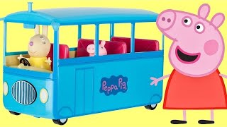getlinkyoutube.com-Nick Jr. PEPPA PIG School Bus, Sound, Song, Miss Rabbit, Candy Cat Toy Surprises Playset / TUYC