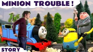 getlinkyoutube.com-Minions Trouble with Gru and Thomas & Friends funny toy story with Surprise Eggs and Chris IRL TT4U
