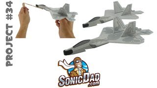 getlinkyoutube.com-How to Make an F-22 Raptor Model Airplane from Foam Plates - SonicDad Project #34