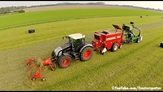 getlinkyoutube.com-Grass Raking Baling & Wrapping in one pass | Fendt 936 Vario Black Beauty | De Buck