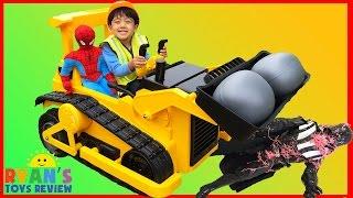 getlinkyoutube.com-BullDozer CAT Power Wheels Ride On Car Kids Construction Vehicle Darth Vader got Spiderman Egg