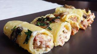getlinkyoutube.com-Paccheri con ricotta, funghi e salsiccia - Le video ricette di Lara