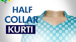 getlinkyoutube.com-Half Collar Kurti/Kameez - Cutting and Stitching