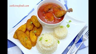 HOW TO COOK NIGERIAN TOMATO STEW WITH STEAMED WHITE RICE - CHICKEN STEW - ZEELICIOUS FOODS