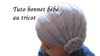 getlinkyoutube.com-TUTO BONNET BEBE STYLE CHARLESTON POINT DE GODRON ET FLEURS AU TRICOT FACILE