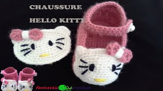 getlinkyoutube.com-كروشيه حذاء اطفال Crochet chaussure  hello kitty