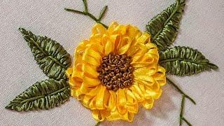 getlinkyoutube.com-Embroidery Designs | Beautiful Ribbon Flower |  HandiWorks #71