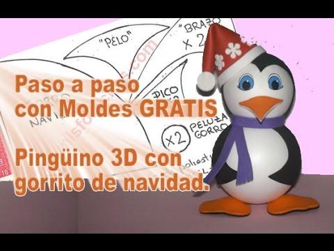 Fofuchas navidad Pingüino navideño fofucha en fomi goma eva paso a paso pingüino con gorro navideño