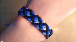 getlinkyoutube.com-Tutorial pulsera de hilo ➢  Modelo diamantes con relleno // Macrame