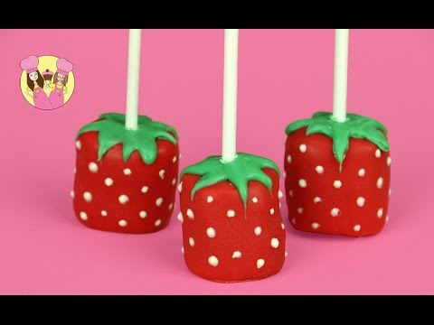 STRAWBERRY MARSHMALLOW POPS kids baking video by Charli's Crafty Kitchen