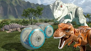 getlinkyoutube.com-LEGO Jurassic World - All Dinosaur Chase Sequences (Indominus Rex, T. Rex, etc)
