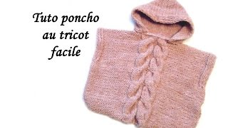 getlinkyoutube.com-TUTO PONCHO CAPUCHE ET TORSADES AU TRICOT FACILE Hooded Poncho easy to knit