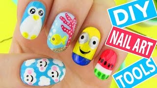 DIY Nail Art Tools with 5 Easy Nail Art Designs! How to Paint your Nails at Home!