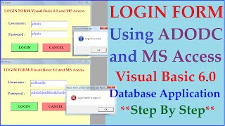 Login Form using Visual Basics 6.0 Adodc and Ms Access Database- Step by Step Tutorial