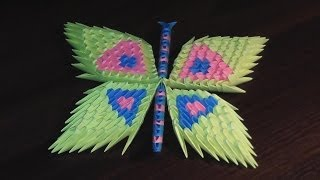 3D origami butterfly assembly diagram (tutorial, instructions)